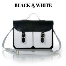 Oldschool Bags - Black and white. Verkrijgbaar bij www.bornidentity.nl