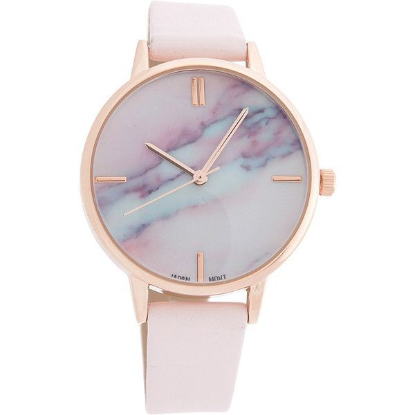 Samoe Marble Face Watch - Blush - Women's Watches found on Polyvore featuring polyvore, women's fashion, jewelry, watches, accessories, bracelets, relógios, pink, marble jewelry and rose gold jewelry