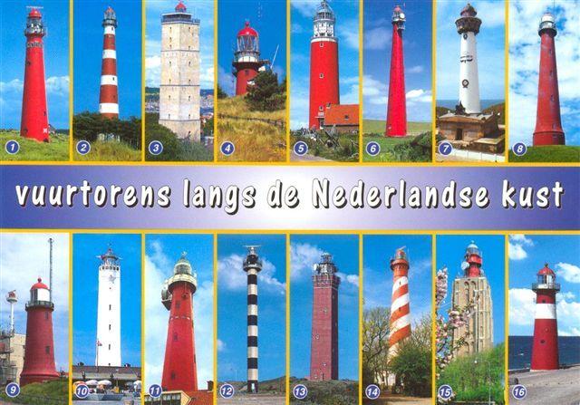 Ameland vuurtorens langs de nederlandse kust jaartal onbekend in Holland