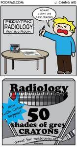 50 shades of grey crayons. http://radiologypics.com/2014/04/11/pediatric-radiology-waiting-room/