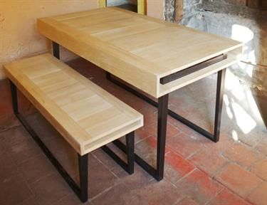 Oak dining table, bench and desk