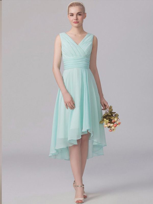 V-neck Ruffles A-line Empire Asymmetrical Bridesmaid Dresses - by OKDress South Africa
