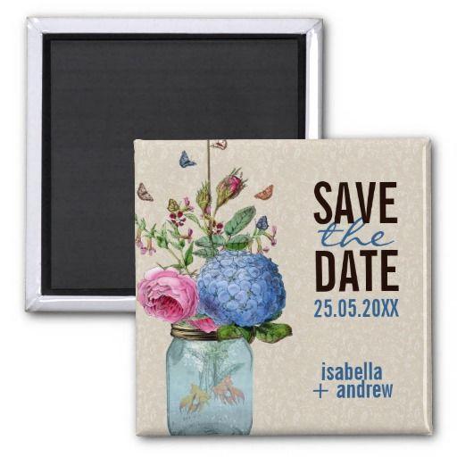Mason Jar Goldfish Love Save The Date Magnets