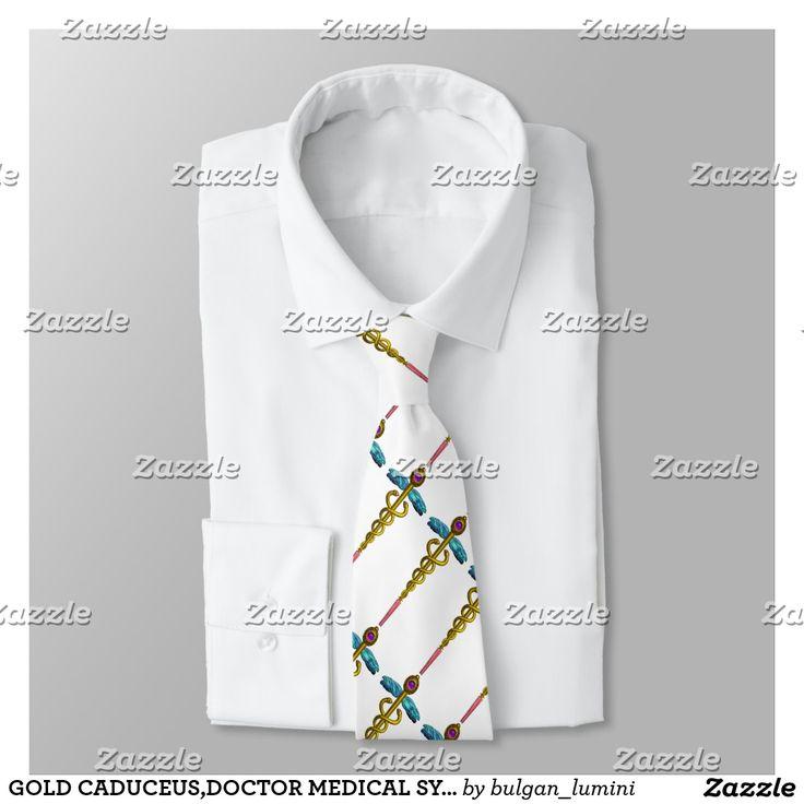 GOLD CADUCEUS,DOCTOR MEDICAL SYMBOL , White Tie