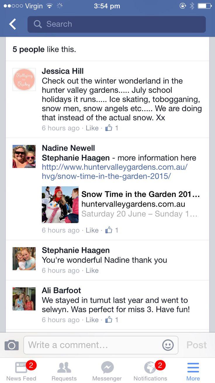 Snow holiday ideas. Hunter valley.