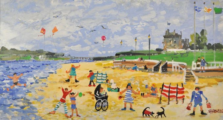 Sue Howells Summer at Last, Broughty Beach Signed Limited Edition Print   Contemporary Art