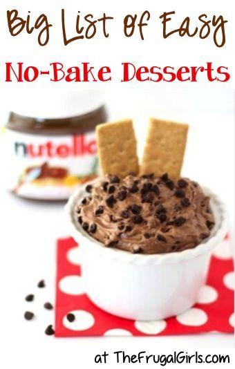BIG List of Easy No-Bake Dessert Recipes from TheFrugalGirls.com