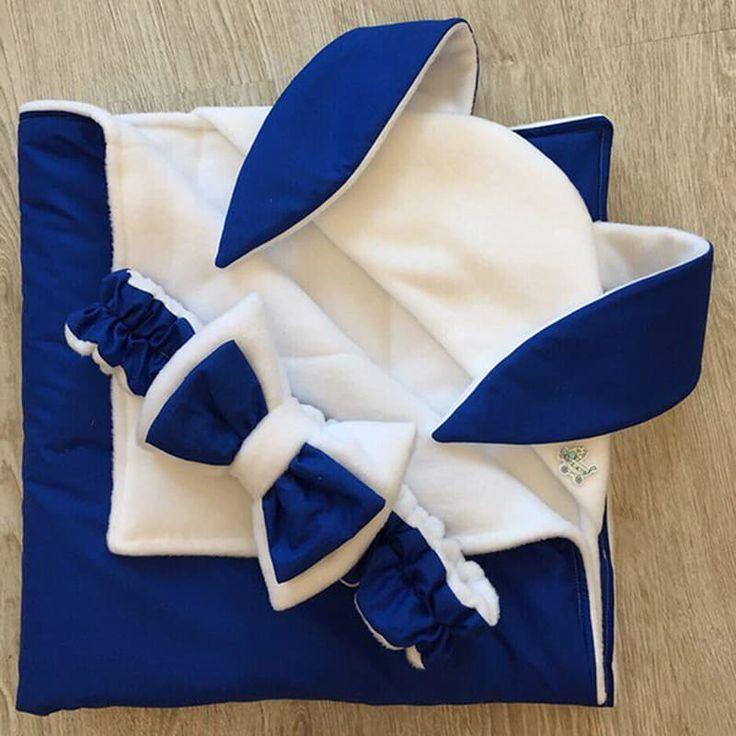 Креативный конверт-одеяло для новорожденного в подарок Зайка на выписку из роддома с уголком с заячьими ушками и повязкой на голову с бантом. Конверт можно использовать как плед в коляску. Выполнен из американского гипоаллергеного хлопка, наполнитель – синтепон, толщина – по сезону. Разм