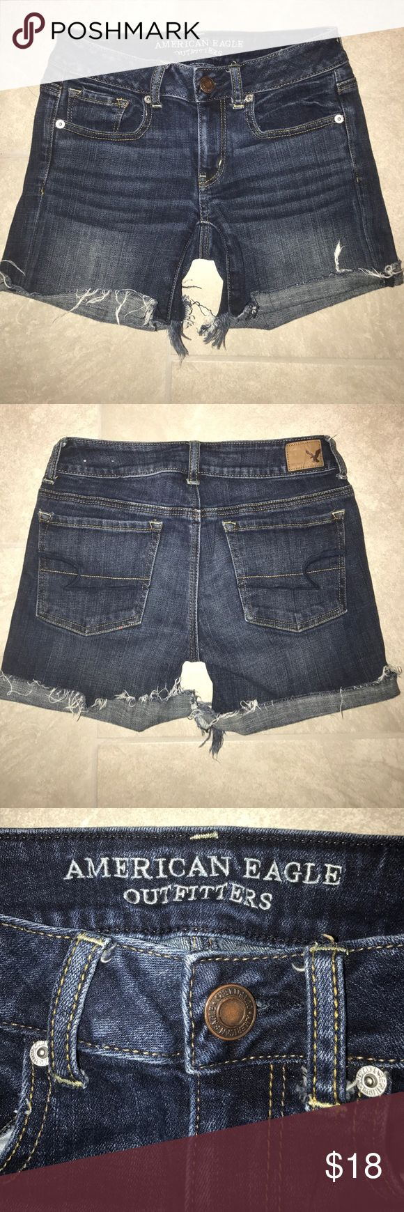 American Eagle Distressed Jean Shorts Amazing condition!  American Eagle Distressed Jean Shorts Size 2 ⚡️Add any item to a bundle to receive a private discount ⚡️ American Eagle Outfitters Shorts Jean Shorts