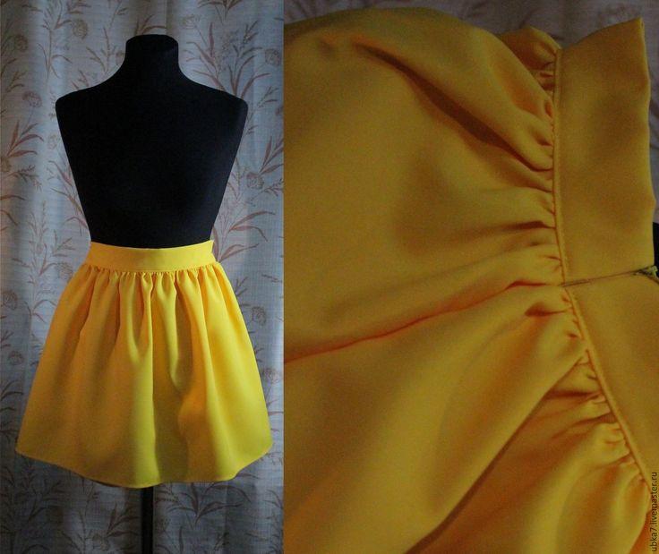 Купить Юбка колокол - желтый, юбка колокол, юбка короткая, юбка нарядная, юбка