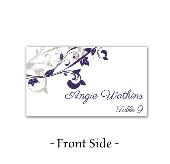 wedding place card template printable escort card template navy silver whimsical vines diy