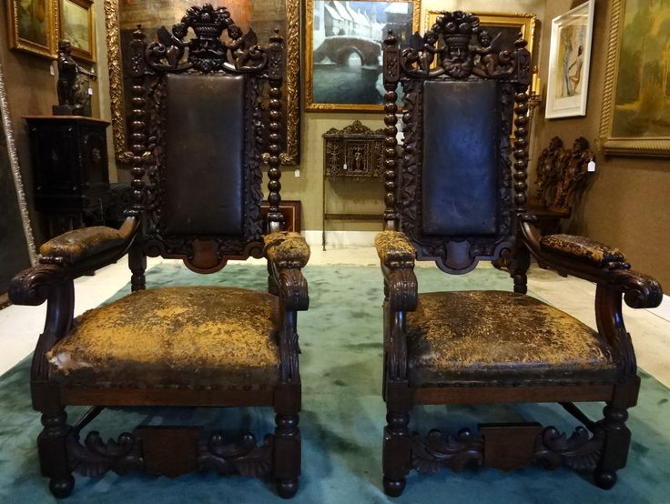Pair of Carved Throne Chairs – 1880's – ID# 2041 – $1,895.00 (Will Sedillo) #antiques #chairs