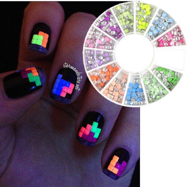 400pcs Square Candy Fluorescent Nail Studs