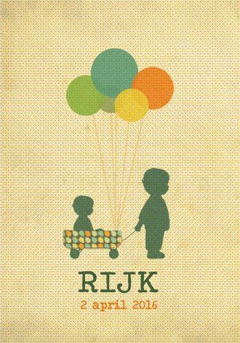 Geboortekaartje Rijk 2 - Pimpelpluis - https://www.facebook.com/pages/Pimpelpluis/188675421305550?ref=hl (#  jongen - grote broer - karretje - bolderkar - ballon - vrolijk - vintage - silhouet - origineel)