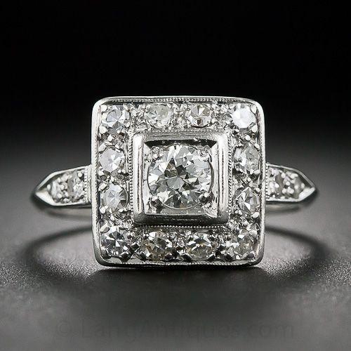 Art Deco Platinum and Diamond Ring - 10-1-6158 - Lang Antiques