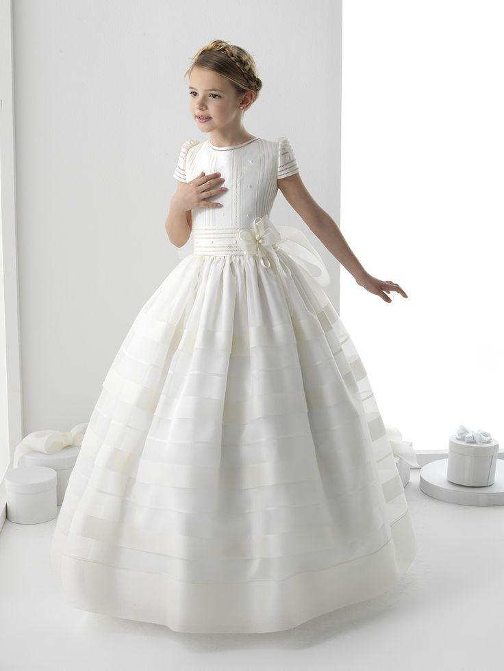 Nectarean Ball Gown Short Sleeve Hand Made Flowers Floor-length Communion Dresses _1
