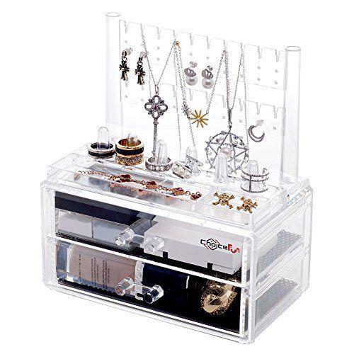 Jewelery Box Storage Cosmetic Makeup Organiser w/ 2 Drawers Acrylic Brand New #JeweleryBox