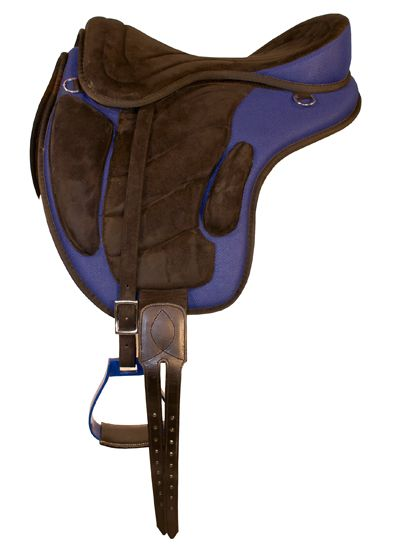 Treeless saddle - blue This is a very comfy saddle, the only thing I changed was my stirrups