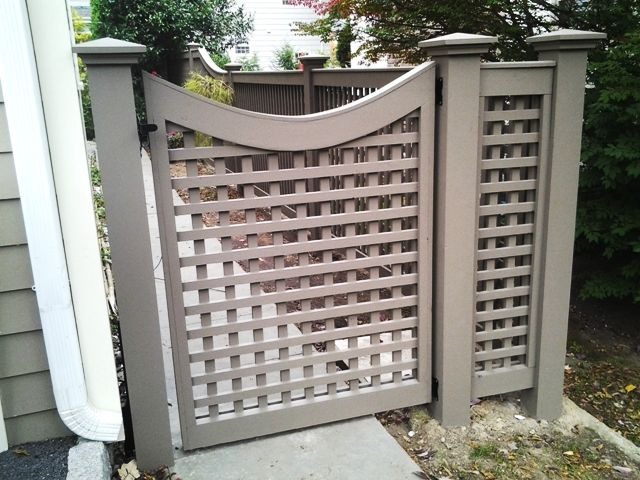 Grey Wood Lattice Scalloped Gate Wood Fence Pinterest