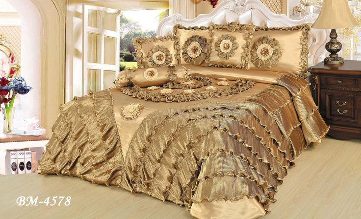 DaDa Bedding Shiny Golden Glamorous Sateen Luxury Floral Embellished Bejeweled Puffy Ruffles Royal Down Comforter Bedspread Set (BM4578)
