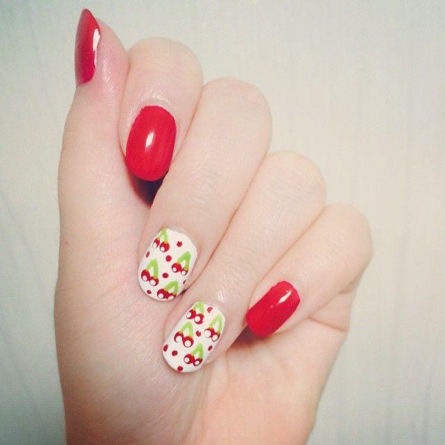 Instagram media by lucete_ara -  cherry nail art