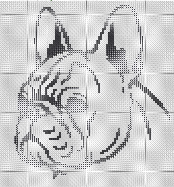 Adorable small x-stitch patterns of a french bulldog . Super easy only 1 colors. Frenchies for life! This pattern fits on a 9 inch hoop and works up quick. Great pattern for beginning X-stitch workers! **All of the (white) symbol in this pattern is background color and should be left as plain aida cloth.  **Pattern is downloadable, you will not receive a paper pattern.
