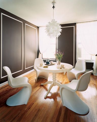 """instant architecture Give character to a featureless room with this modern take on Colonial-style wall panels. It will look as if the place has been around for ages.   Paint color (walls): """"Mustang regal"""" by Benjamin Moore  Paint color (molding): """"White dove"""" by Benjamin Moore"""