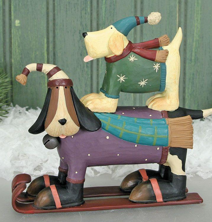 Dog On Skis Figurine – Christmas Folk Art & Holiday Collectibles – Williraye Studio $26.00