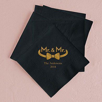 Lot de 100 serviettes Mr & Mr personnalisées
