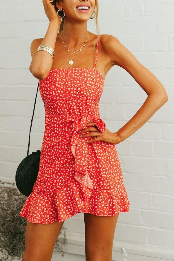 Spaghettibandjes Rugloze riem Bloemenprint Mouwloze casual jurken – ebuyt …