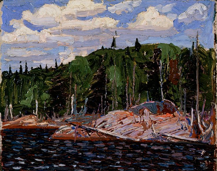 """Thomson sometimes used more than one primer in his compositions: in """"Lakeside, Spring, Algonquin Park,"""" (1915, private collection) he used a grey-pink tone overall, but deep red under the water."""