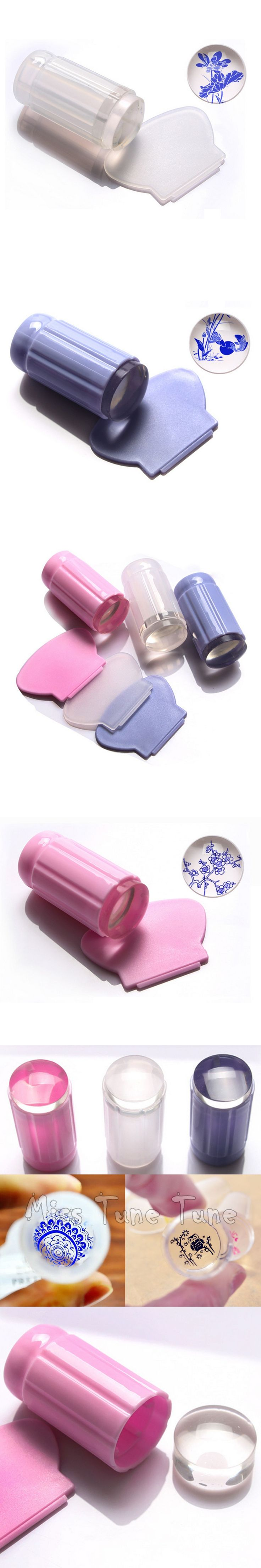 Clear Jelly Nail Art 2.8cm Large Stamper Transparent Silicone Marshmallow Nail Stamper & Scraper Kit