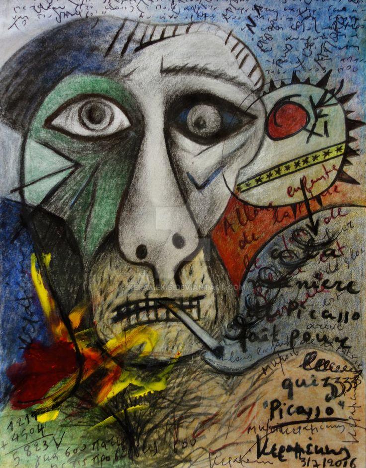 KERAMEKIS  Une parodie d'autoportait autoportrait de Picasso / Intitulé: A-la-maniere-de-picasso by keramekis.deviantart.com on @DeviantArt