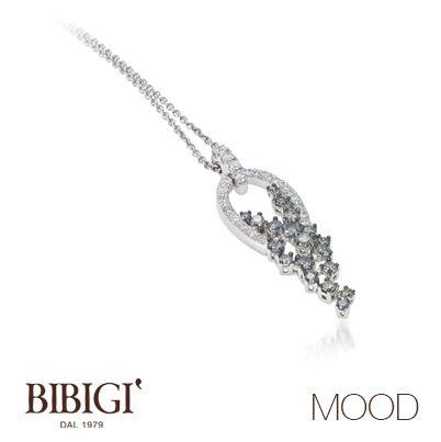 #Bibigì #Mood Collana in oro bianco, brillanti gray e diamanti. Più retrò o più classica, Mood propone le versioni in oro rosso e oro bianco per qualsiasi stato d'animo.