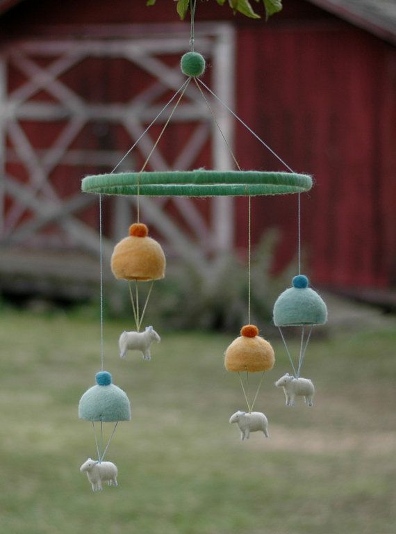 Quartet of Parachuting Sheep - Needle Felted Mobile for the Nursery $185
