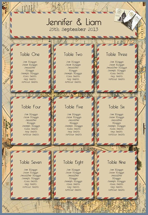 Vintage Travel Table Plan by KnotsAndKisses on Etsy, £45.00