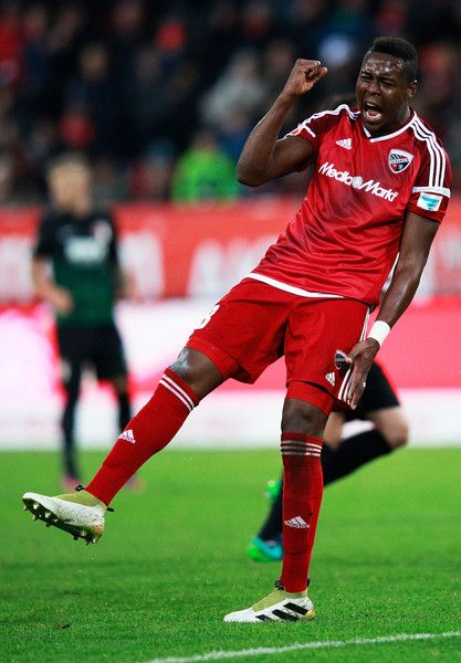 Roger of FC Ingolstadt 04 is dejected after missing a good chance during the Bundesliga match between FC Ingolstadt 04 and FC Augsburg at Audi Sportpark on November 5, 2016 in Ingolstadt, Germany.