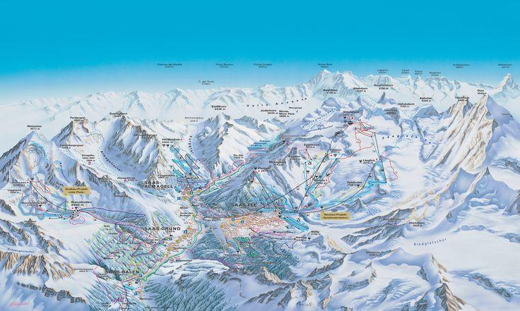 Panoramic map Saas-Fee: Piste map Saas-Fee - Ski Saas-Fee