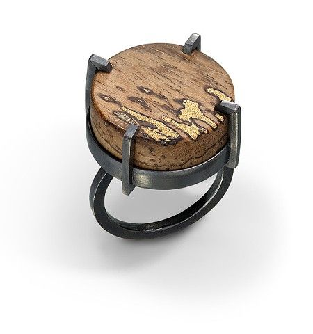 """Wood and gold ring"" by Laura Jaklitsch. 2014. Wood, gold Filings, resin, sterling silver, patina."