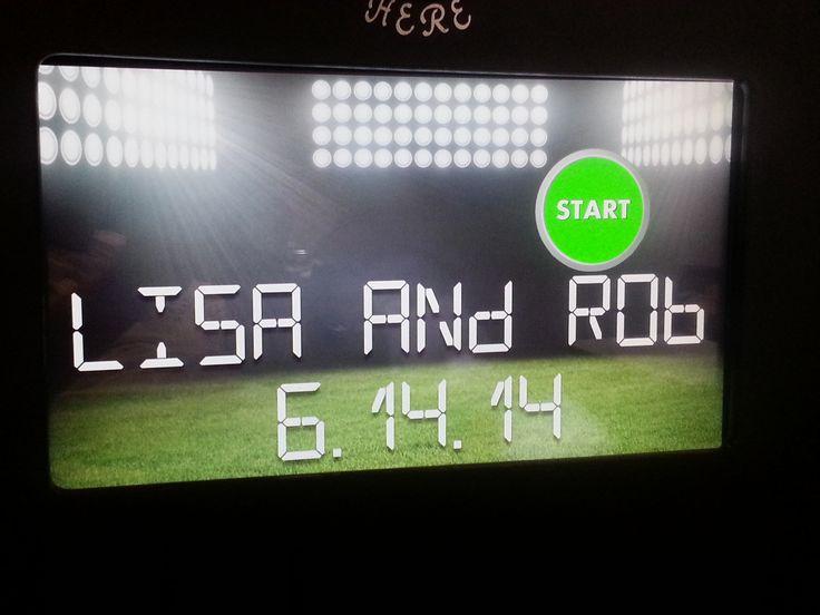 Football theme wedding booth screen