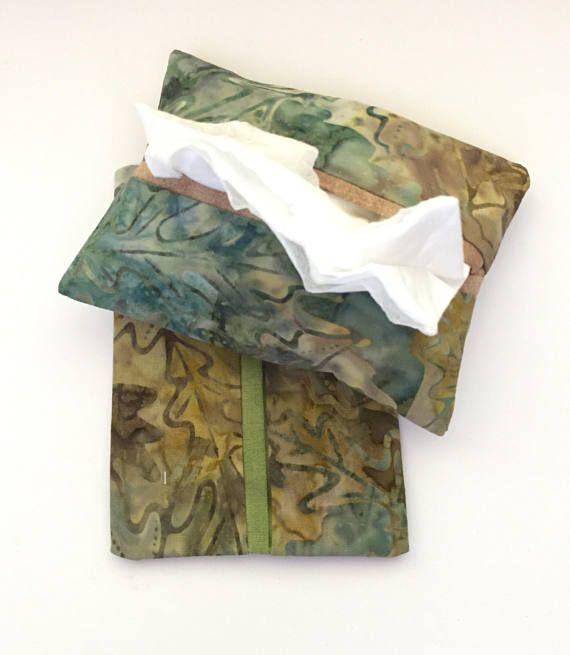 Batik Leaf Fabric Purse Tissue Holders, Handmade, Kleenex Holders, Tissue Cover, gift under 10, Purse Accessory, Tissue Case