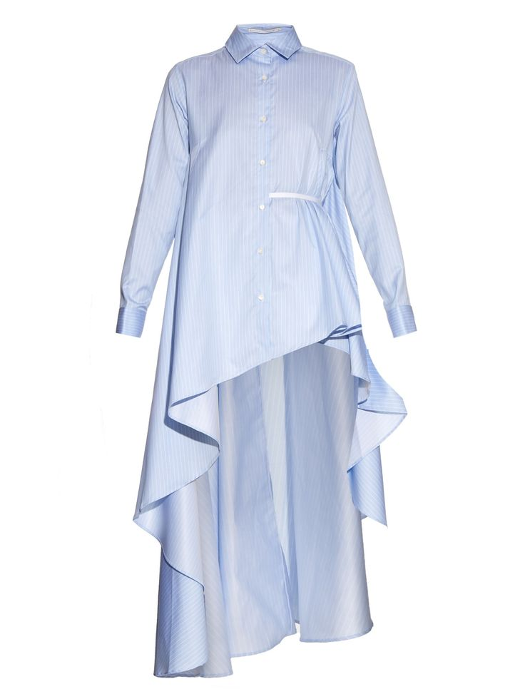 Asymmetric waterfall-hem pinstripe cotton shirt   palmer//harding   MATCHESFASHION.COM US