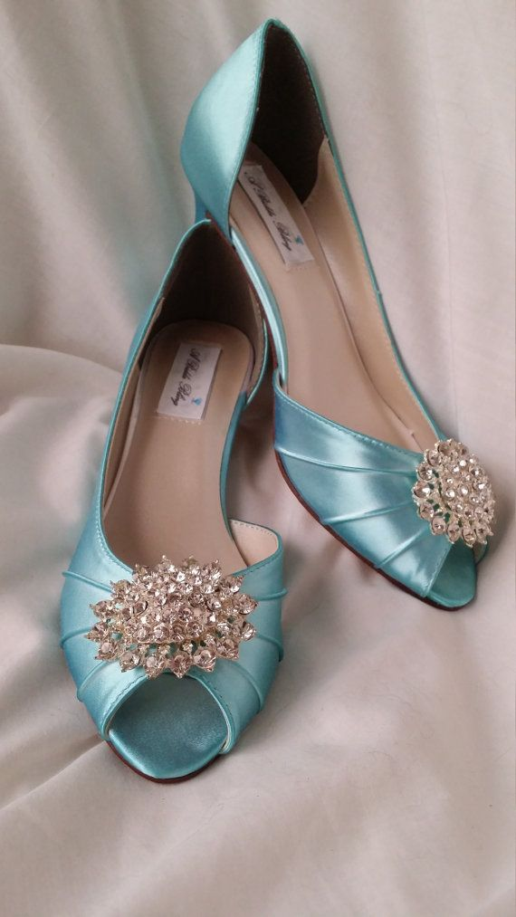b64eef0616f Tiffany Blue wedding shoes with a sparkling crystal oval brooch design.  These beautiful shoes are fully customizable peep toe bridal shoes. You hav…
