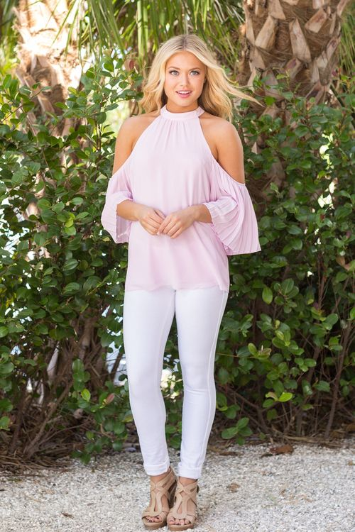 All The Frills Cold Shoulder Blouse Lavender - The Pink Lily