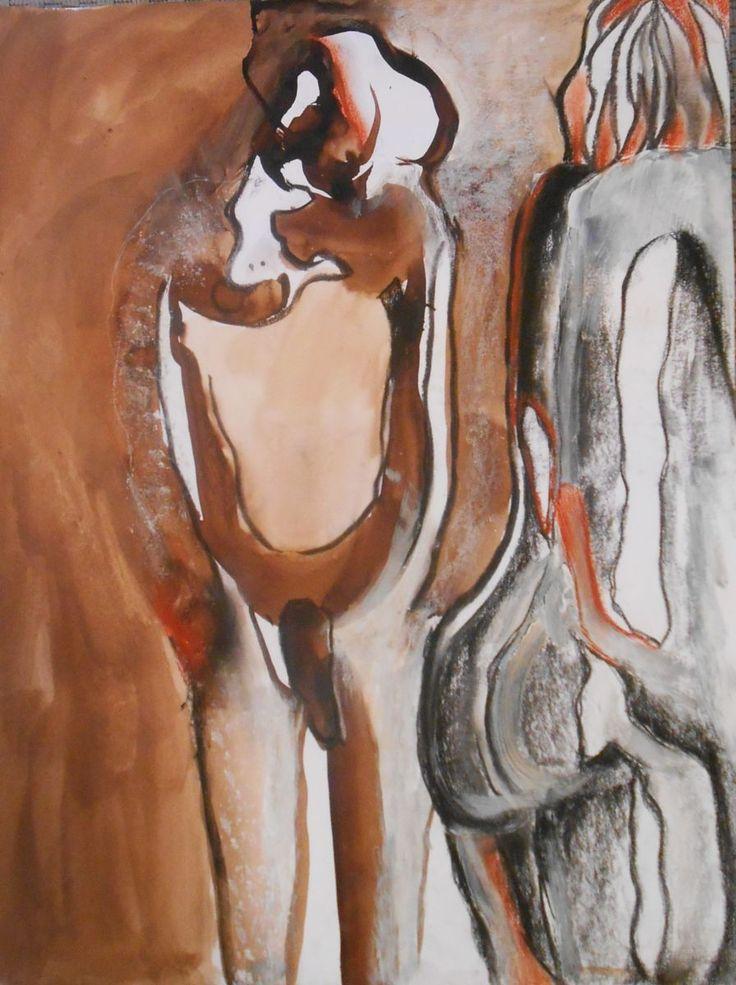 brou de noix sur papier (Dessin) par Tatiana Anikina