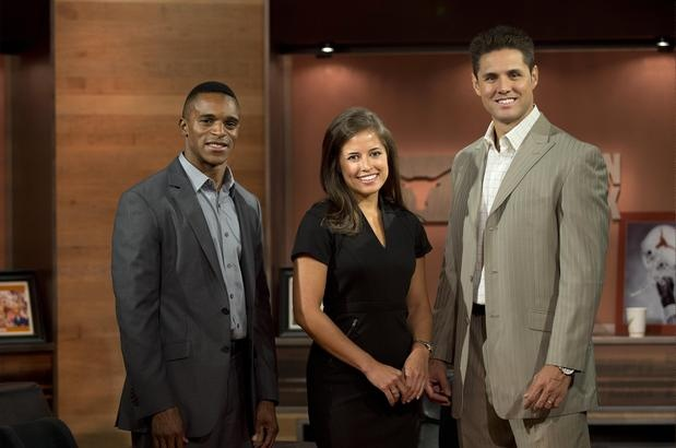 This year, expect to see a lot of Ahmad Brooks, left, Kaylee Hartung and Chris Rix on the Longhorn Network. Photo by Jim Sigmon/University of Texas