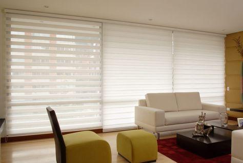 Sheer Elegance   Moderna y novedosa persiana doble tela que brinda elegancia, iluminación y diseño. Cada tela esta diseñada con franjas intercaladas trasluz y opacas.