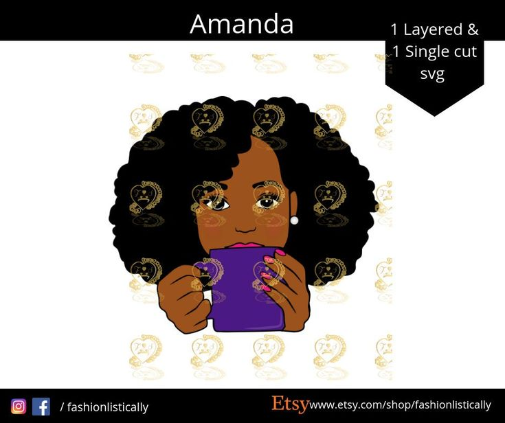 Woman With Afro Hair Drinking Coffee Svg Sipping Tea Svg