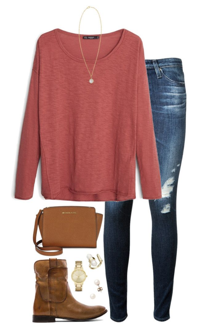 """gn9"" by tessorastefan ❤ liked on Polyvore featuring AG Adriano Goldschmied, MANGO, Frye, J.Crew, Kate Spade, Michael Kors, Irene Neuwirth, Kendra Scott, women's clothing and women"
