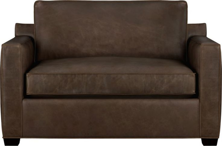 Davis Leather Twin Sleeper Sofa Sale $1,954.15 reg. $2,299.00 The Davis leather twin sleeper is a blend of oversized armchair and contemporary compact sleeper designed for contemporary real life.  After you place your order, we will send a leather swatch via next day air for your final approval. We will contact you to verify both your receipt and approval of the leather swatch before finalizing your order.